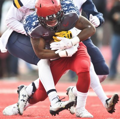 Eastern Washington wide receiver Shaq Hill  hauls in a touchdown pass against Northern Colorado safety Sherand Boyd Jr.  during the second half  Saturday. (Tyler Tjomsland / The Spokesman-Review)