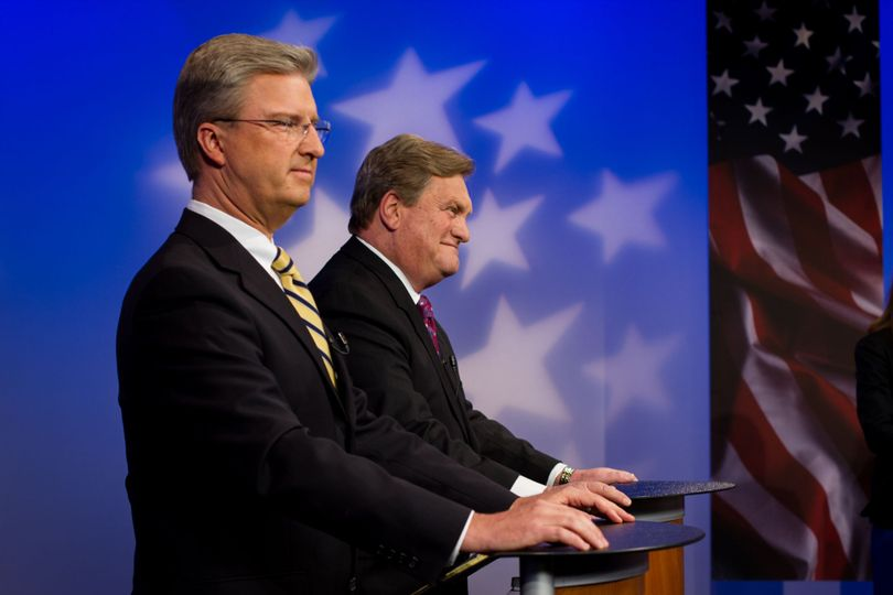 Challenger Brian Smith, left, and Congressman Mike Simpson on the