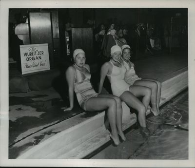 Young women in their bathing suits at a Spokane swimming pool in June 1950.  (Spokesman-Review archives)