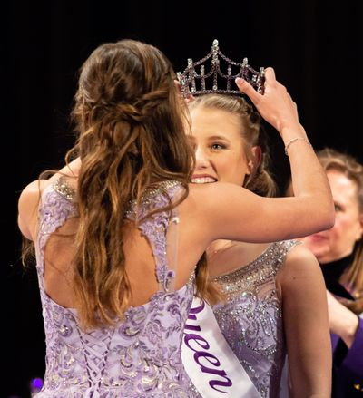 2018 Spokane Lilac Festival queen, Halle Nelson, crowns Madison O' Callaghan as the 2019 Spokane Lilac Festival queen during a coronation at West Valley High School on March 3, 2019. Because of the closure of schools and concerns about the spread of the coronavirus, this year's coronation will not be open to the public. (Libby Kamrowski / The Spokesman-Review)