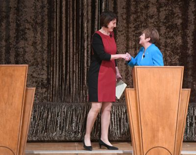 Cathy McMorris Rodgers and Lisa Brown shake hands before a debate at the Fox Theater in Spokane in this October 2018 photo. McMorris Rodgers, facing her toughest challenge to date to retain her seat in Congress, still emerged with a decisive win over a well-funded and well-known Democratic opponent. (Jesse Tinsley / The Spokesman-Review)