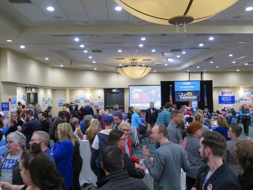 Democrats crowd an election-night gathering at the Grove Hotel in downtown Boise on Tuesday night (Betsy Z. Russell)