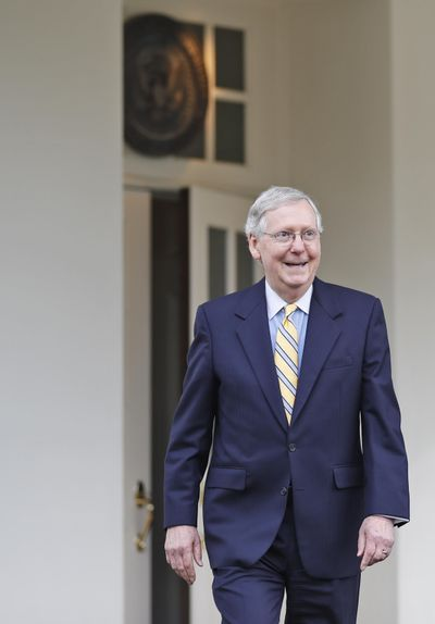 In this June 27, 2017, photo, Senate Majority Leader Mitch McConnell of Ky. steps out of the West Wing of the White House in Washington to speak with the media after he and other Senate Republicans met with President Donald Trump. (Alex Brandon / Associated Press)