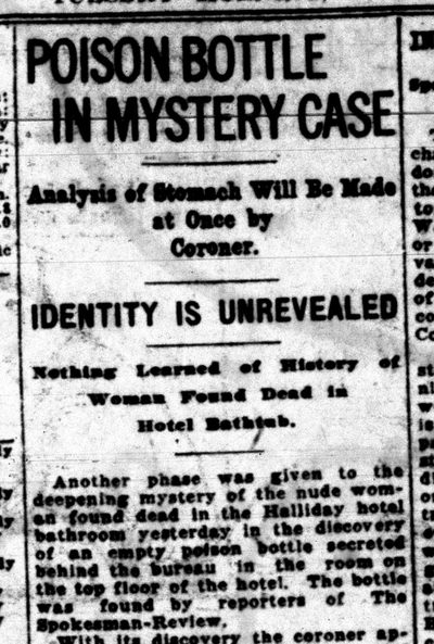 Police were baffled by the case of a nude dead woman found in the Halliday Hotel on July 13, 1920.  (S-R archives)