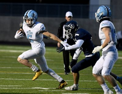 Central Valley running back Terrence Kelley carries the ball as Gonzaga Prep defensive back Nate Boyum closes in during the first half of Friday's Greater Spokane League season-ending football game at Gonzaga Prep.  (COLIN MULVANY/THE SPOKESMAN-REVIEW)