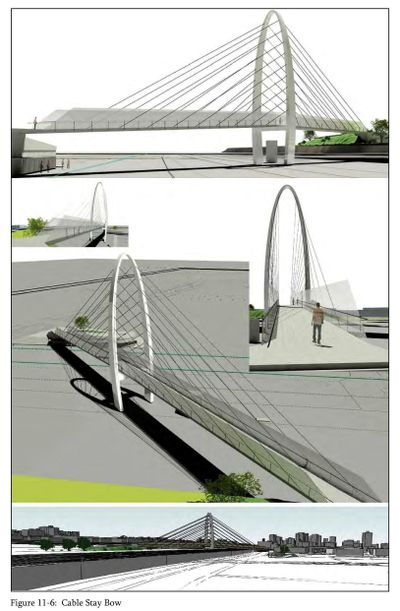 Surveys of the public led the city to adopt a cable stay bridge design, pictured above in an artists' rendering from KPFF Consulting Engineers, for the University District pedestrian bridge. The arch on the suspension bridge design will top out at 120 feet, said University District Project Manager Brandon Betty.