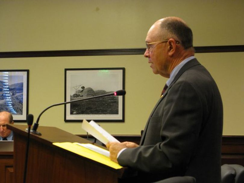 Sen. Chuck Winder, R-Boise, pitches a bill Tuesday to require review of all sales tax exemptions at least every five years, and to make all new exemptions expire within five years. It's the third of three bills proposed this session with that aim; Idaho's exemptions and exclusions from its sales tax exceed the amount it collects. (Betsy Russell)