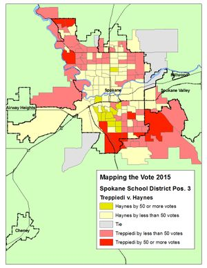 This map shows the vote margins for candidates in the Spokane School Board Pos. 3 race after the ballot count on Wednesday, Nov. 4. (Jim Camden/The Spokesman-Review)
