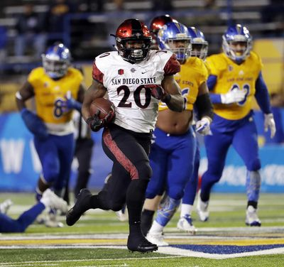 Rashaad Penny led the nation with 2,248 rushing yards and scored 23 touchdowns as a senior at San Diego State. (Marcio Jose Sanchez / AP)