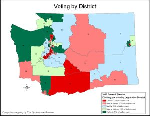 Map of the 2010 General Election balloting by Legislative District. (Jim Camden/The Spokesman-Review)
