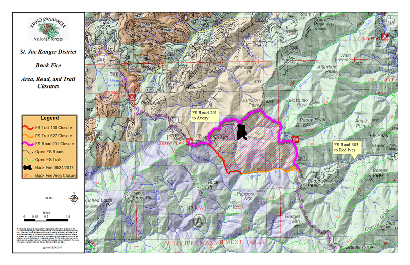 Map shows Buck Creek Fire closure on Aug. 25, 2017, after being reduced from a closure set two weeks prior because of fire activity in the St. Joe Ranger District. (U.S. Forest Service)