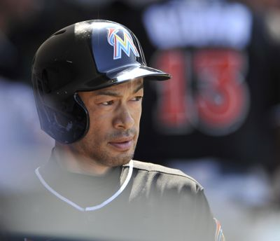 Miami's deep, talented outfield has kept Ichiro Suzuki in the role of spectator recently. (Paul Beaty / Associated Press)