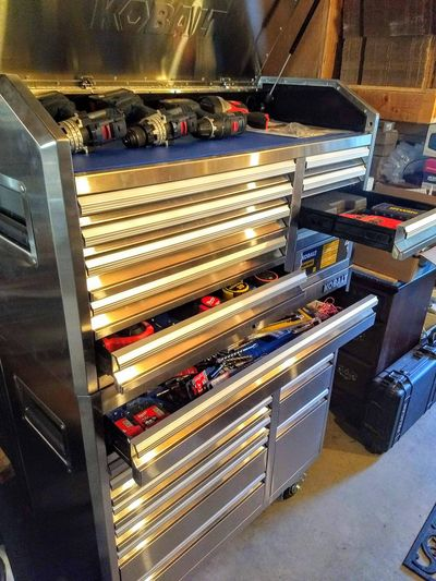 A rolling double-decker tool cabinet is a great way to wrangle hand tools. (Tim Carter)