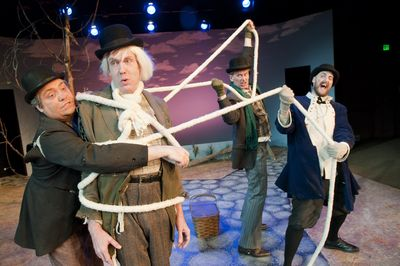 """Interplayers' production of """"Waiting for Godot"""" features from left, Reed McColm, Michael Maher, Jonn Jorgensen and Damon Abdallah.  (Colin Mulvany / The Spokesman-Review)"""
