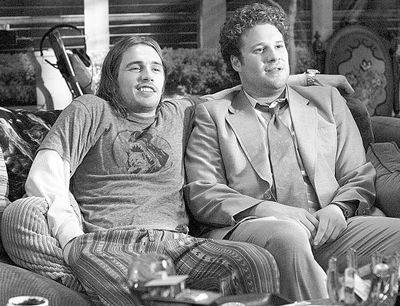 In this photo provided  by Columbia Pictures, James Franco, left, and Seth Rogen are shown in a scene from the  action-comedy