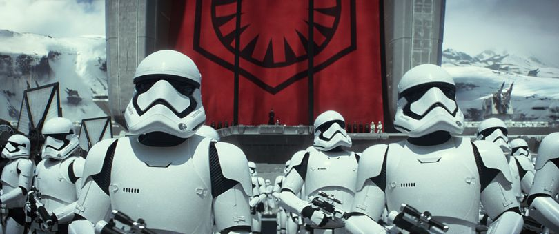This photo provided by Disney/Lucasfilm shows stormtroopers in a scene from the new film,