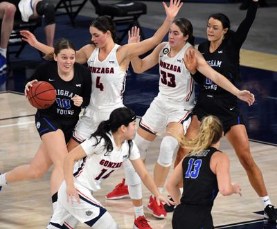 Gonzaga forward LeeAnne Wirth (4) and Gonzaga forward Melody Kempton (33) try to keep BYU guard Tegan Graham (10) out of the key during the second half of an NCAA college basketball game, Tuesday, Feb. 2, 2021, in the McCarthey Athletic Center.  (Colin Mulvany/THE SPOKESMAN-REVIEW)