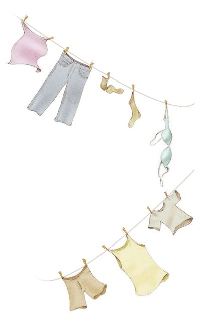 300 dpi Fred Matamoros color illustration of clothes hanging from a clothesline. The News Tribune (Tacoma, Wash.) 2009<p> laundry; towel; jeans; sock; bra; brassiere; tshirt tee shirt t-shirt; tank top tanktop; shorts; clothes pins clothespins; krtcampus campus; krtnational national; krtworld world; krt; mctillustration; matamoros; tc contributed; clothes; clothesline clothes line; 2009; krt2009 (Matamoros / Tribune News Service illustration)