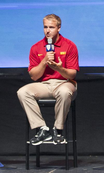 Southern California quarterback Matt Barkley responds to a question during the Pac-12 NCAA college football media day Tuesday in Los Angeles. (Associated Press)