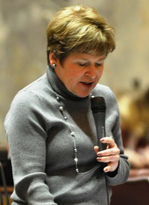 OLYMPIA -- Sen. Lisa Brown makes a speech about Spokane's Martin Luther King Day march and last year's attempted bombing.  (Jim Camden)
