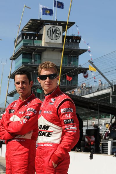 Associated Press IRL teammates Helio Castroneves, left, of Brazil, and Ryan Briscoe, of Australia, have each other's back. (Associated Press / The Spokesman-Review)