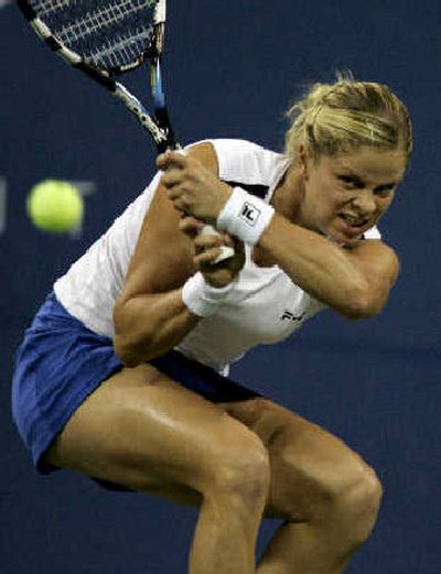 Kim Clijsters returns to Mary Pierce during the final at the U.S. Open.   (Associated Press / The Spokesman-Review)