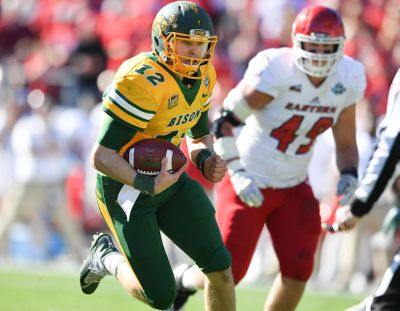 North Dakota State quarterback Easton Stick runs for a touchdown during the first half of the FCS title game on Saturday at Toyota Stadium in Frisco, Texas. (Tyler Tjomsland / The Spokesman-Review)