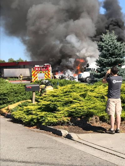 Two semis are on fire at the Flying J truck stop in Post Falls. (Post Falls Police Department)
