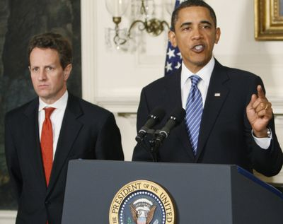 President Barack Obama, accompanied by Treasury Secretary Timothy Geithner, announces a new fee on large financial institutions to recover up to $120 billion used to prop up the corporations during the economic crisis.  (Associated Press)