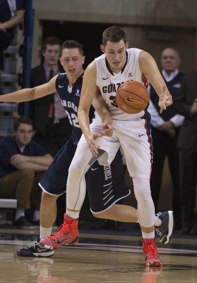 San Diego forward Brett Bailey (32) and Gonzaga forward Kyle Wiltjer (33) battle for loose ball in last season's matchup at the McCarthey Athletic Center. The two teams face off again on Saturday. (Colin Mulvany / The Spokesman-Review)